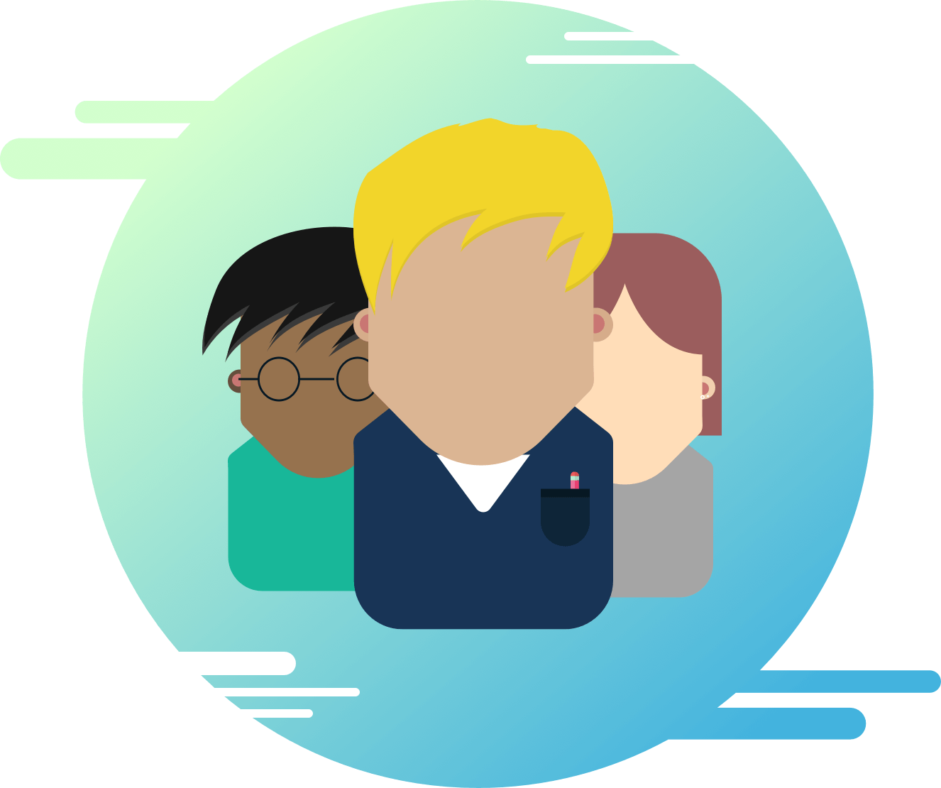 Bubble image for the careers page, it contains three people illustrations