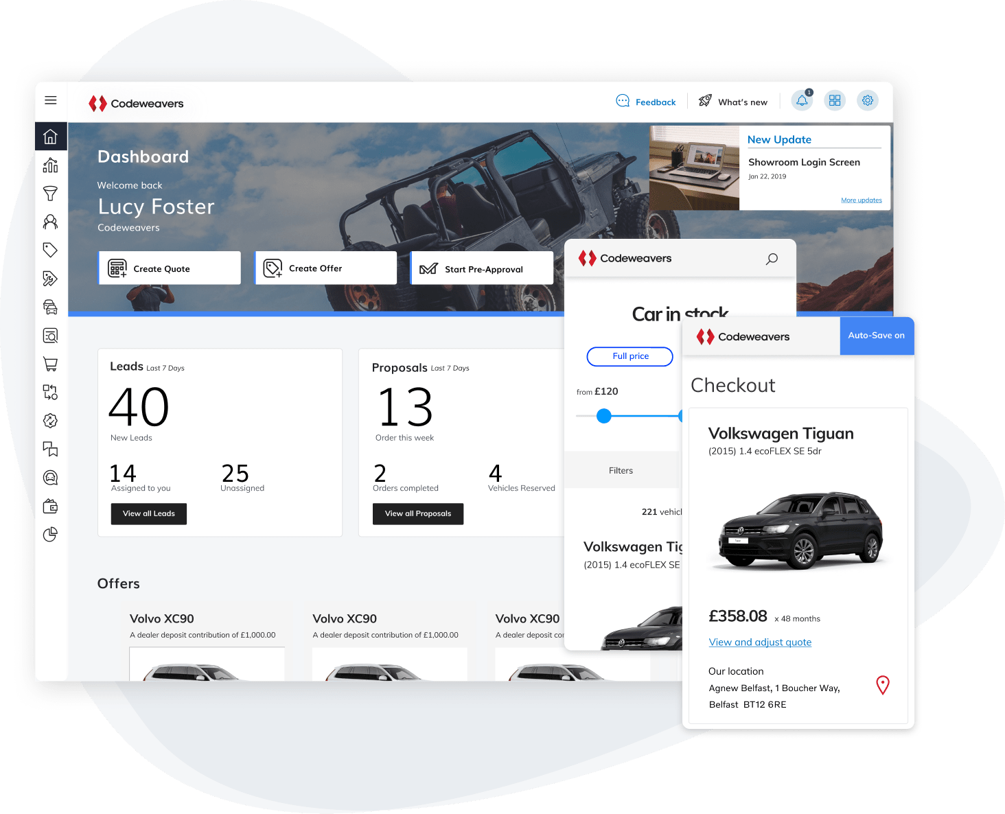 An image of the showroom dashboard with a mobile screen of a car in checkout